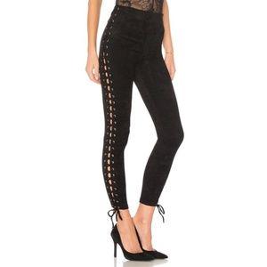 Lovers + Friends black suede lace up leggings